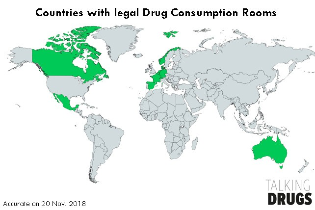 World map that highlights countries where drug consumption rooms are legal. List is below.