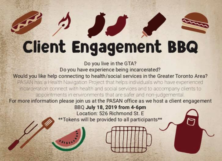 PASAN BBQ on July 18 from 4-6pm. Location: 526 Richmond St. E