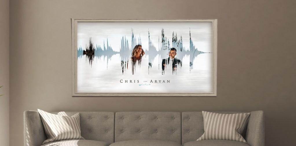 First anniversary gift sound wave art