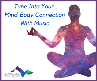 "A silhouette of a person seated in a meditative position. The silhouette is filled with an image from outer space. The caption reads, ""Tune Into Your Mind-Body Connection With Music."""
