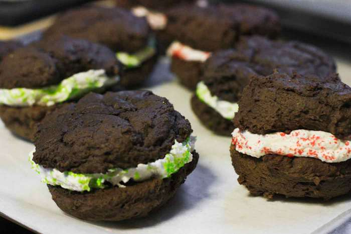Chocolate Whoopie Pies with sprinkles