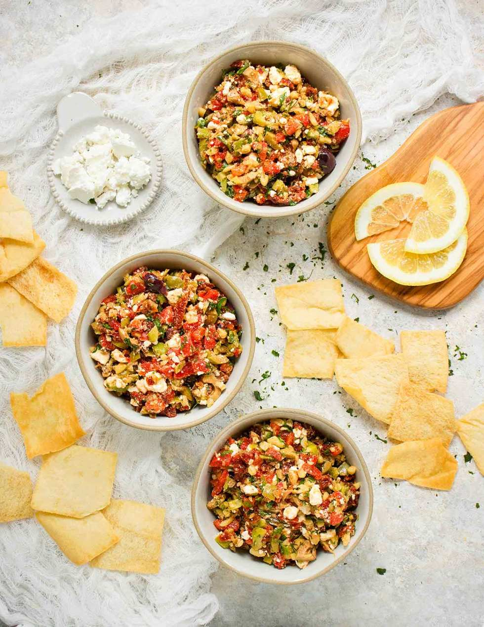 Three bowls of salsa