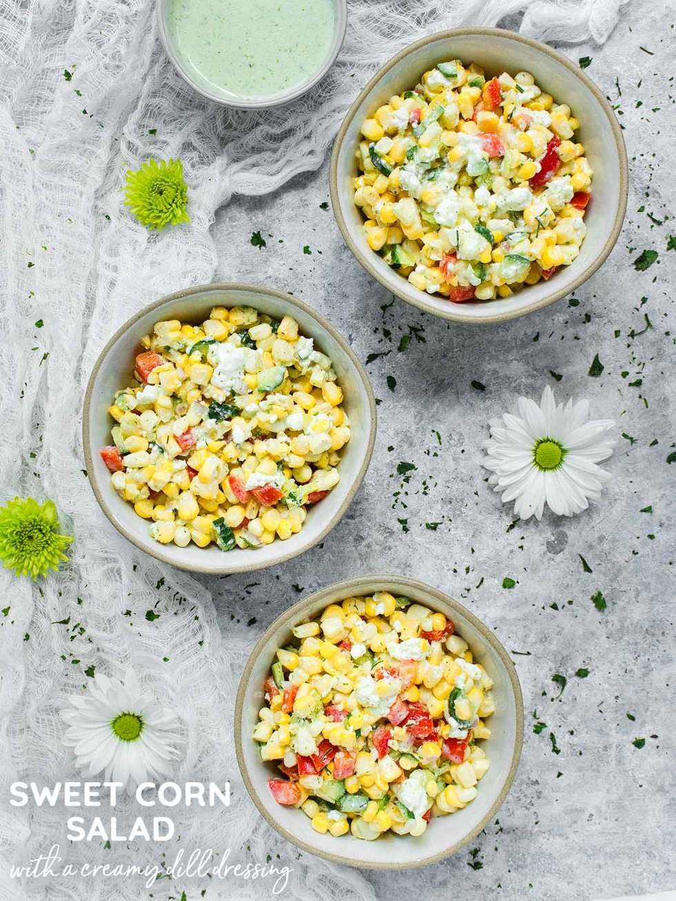 Sweet Corn Salad with Creamy Dill Dressing - Recipe at SoupAddict.com