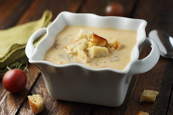 BLT soup in a square bowl