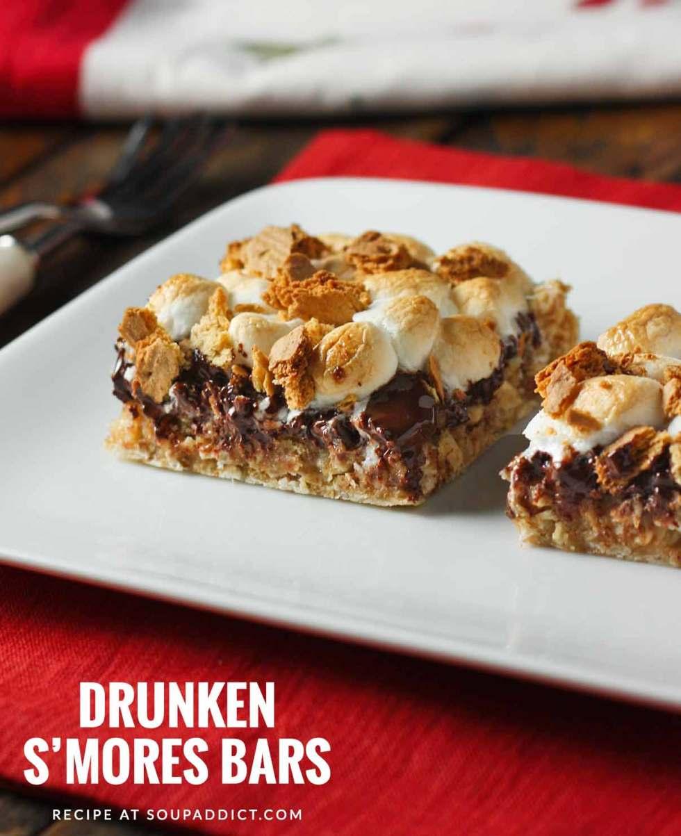 Drunken S'mores Bars - Recipe at SoupAddict.com