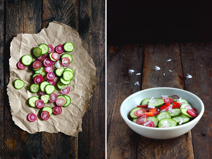 Chive Flower Cucumber Salad