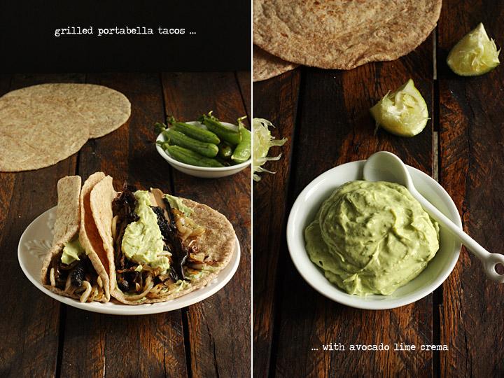 Grilled Portabella Tacos with Avocado Lime Crema