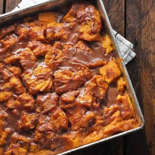 Pumpkin Bread Pudding with Nutella Glaze | SoupAddict.com