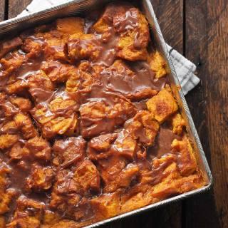 Pumpkin Bread Pudding with Nutella Glaze | SoupAddict.com