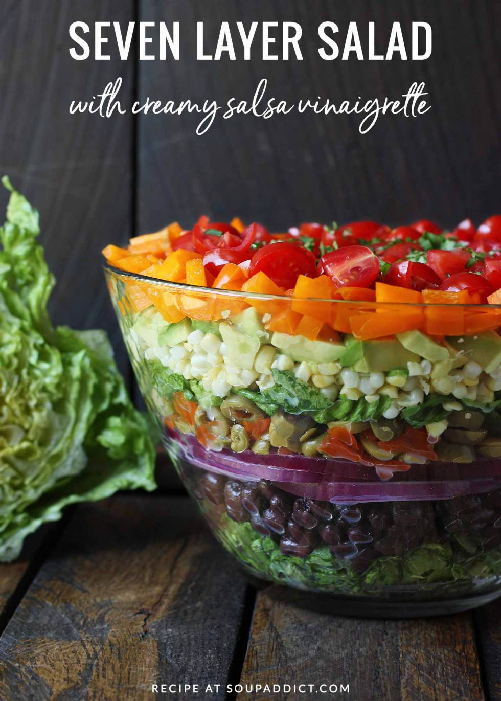 Seven Layer Salad Pinterest Pin - Recipe at SoupAddict.com