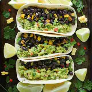 Loaded Guacamole Vegetarian Tacos | SoupAddict.com
