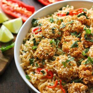 Oven Fried Shrimp with Thai Coconut Ramen Noodle Bowl   SoupAddict.com