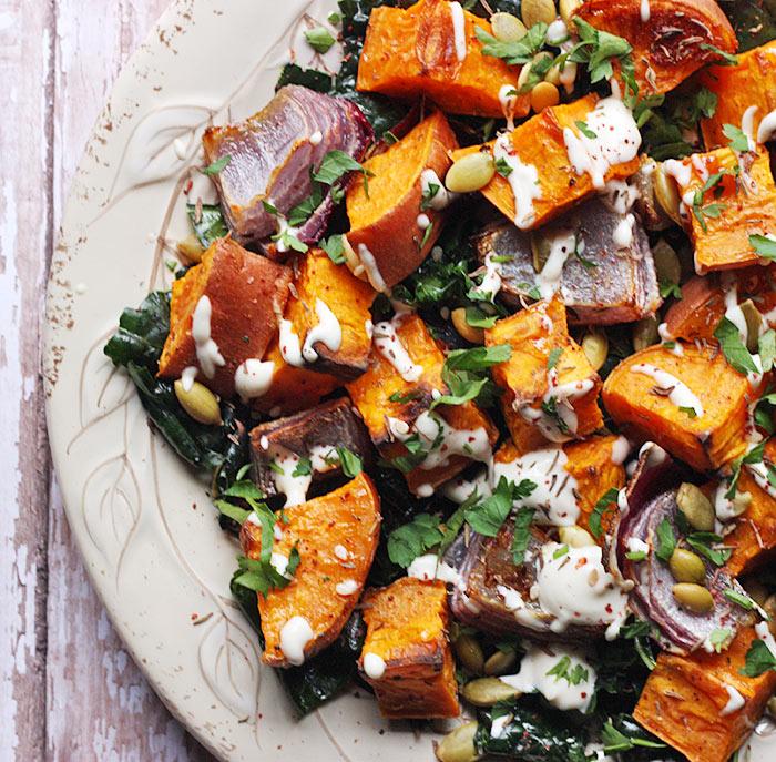 Roasted Sweet Potatoes with Tahini Drizzle   SoupAddict.com