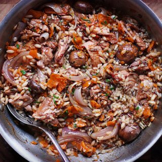 Autumn Chicken and Wild Rice Skillet with Kabocha Ribbons | SoupAddict.com