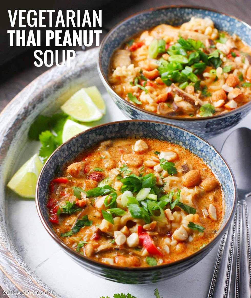 Vegetarian Thai Peanut Soup - Recipe at SoupAddict.com