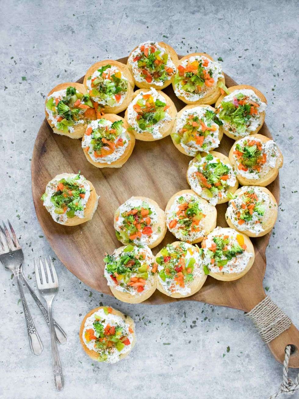 Christmas Wreath Appetizers on a serving board
