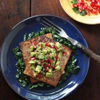 Pan-seared Tofu AvocadoPomegranate Palliards | SoupAddict.com