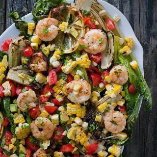 Grilled Romaine Salad with Shrimp | SoupAddict.com