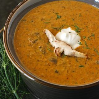 Mushroom soup never tasted so good! Earthy, savory wild mushrooms and generous amounts of paprika create a deeply flavorful and satisfying Hungarian Mushroom Bisque. Get the recipe at SoupAddict.com