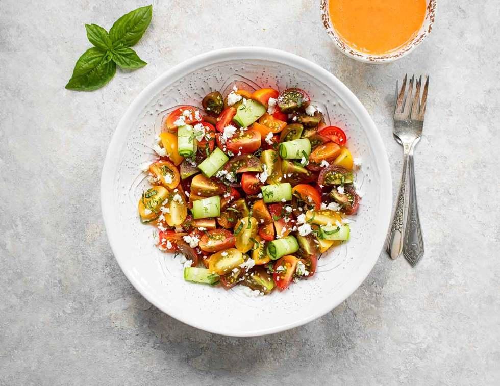 Tomato salad in a big white bowl
