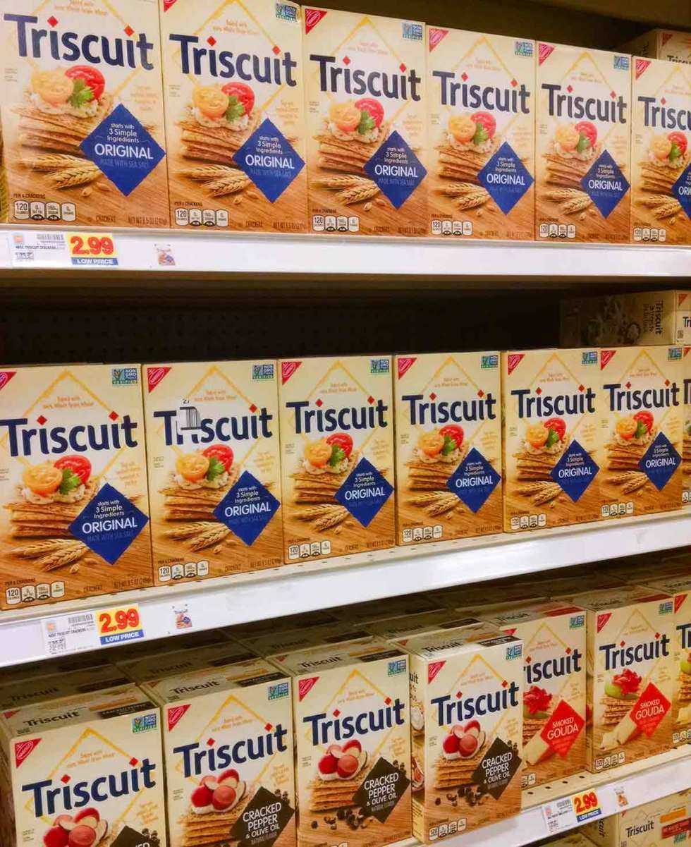 Boxes of Triscuit crackers on the shelves at Kroger