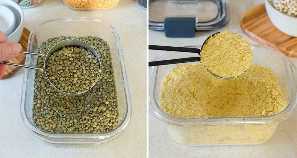 Scooping lentils and nutritional yeast from storage container.