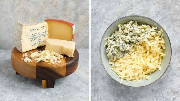 Three cheeses on a cheeseboard for the ultimate grilled cheese sandwich