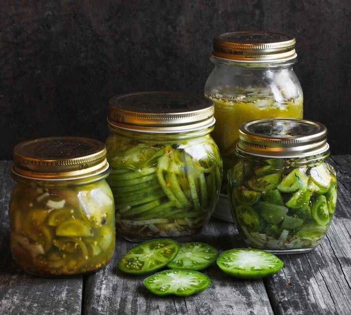 Jars of Green Tomato Pickles