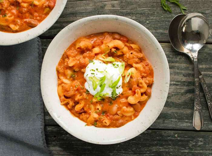 Instant Pot Chili Mac with Turkey in a bowl