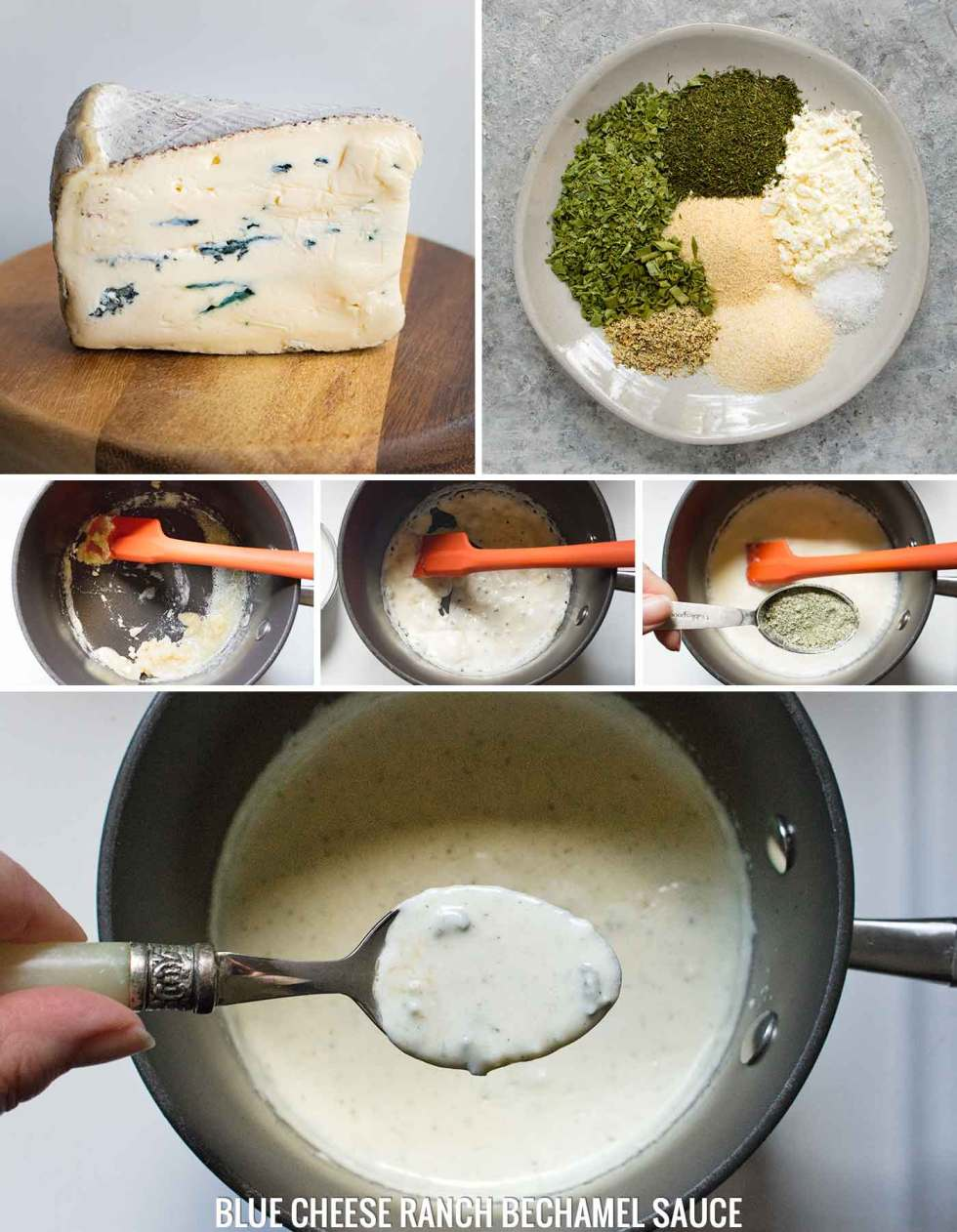 Steps to make the blue cheese ranch sauce for Buffalo Blue Cheese Chicken Soup