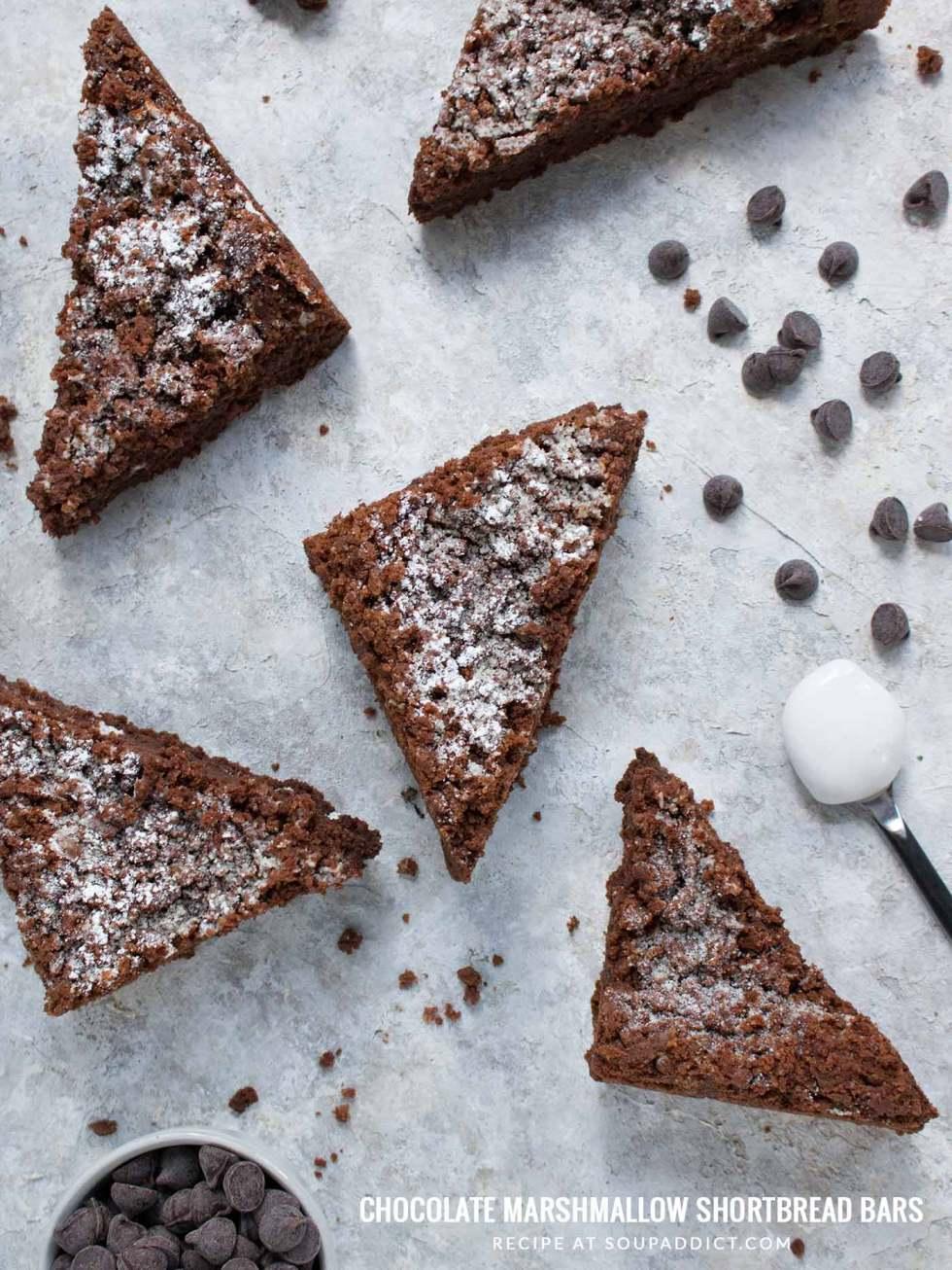 Chocolate Marshmallow Shortbread Bars - Recipe at SoupAddict.com