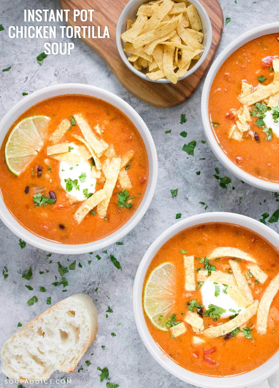 Instant Pot Chicken Tortilla Soup - Recipe at SoupAddict.com