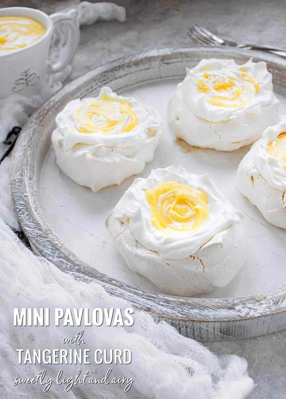 Mini Pavlovas with Tangerine Curd - Recipe at SoupAddict.com