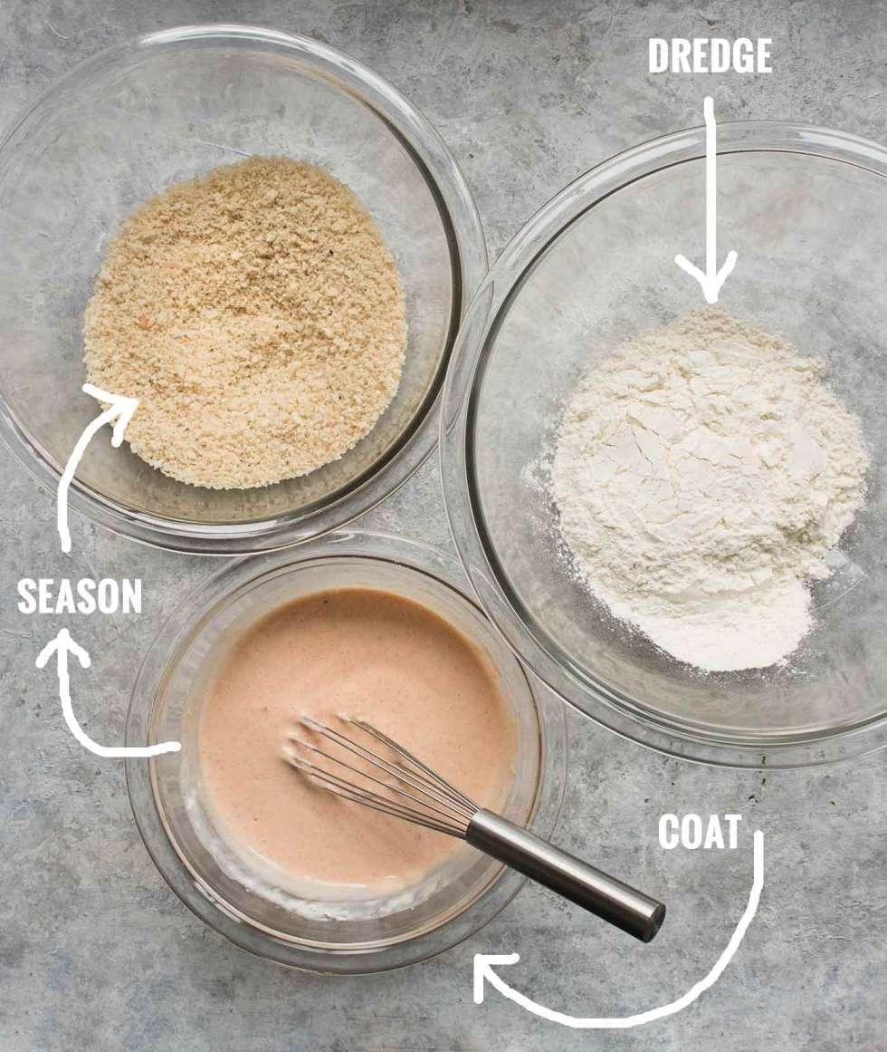 Steps for coating cauliflower bites