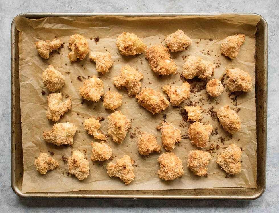 Baked, breaded cauliflower bites
