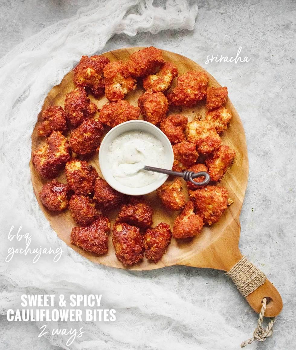 Sweet & Spicy Cauliflower Bites - Two Ways - Recipe at SoupAddict.com