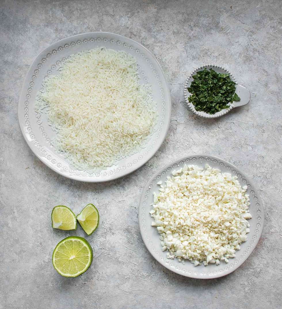 Ingredients for cauliflower rice blend