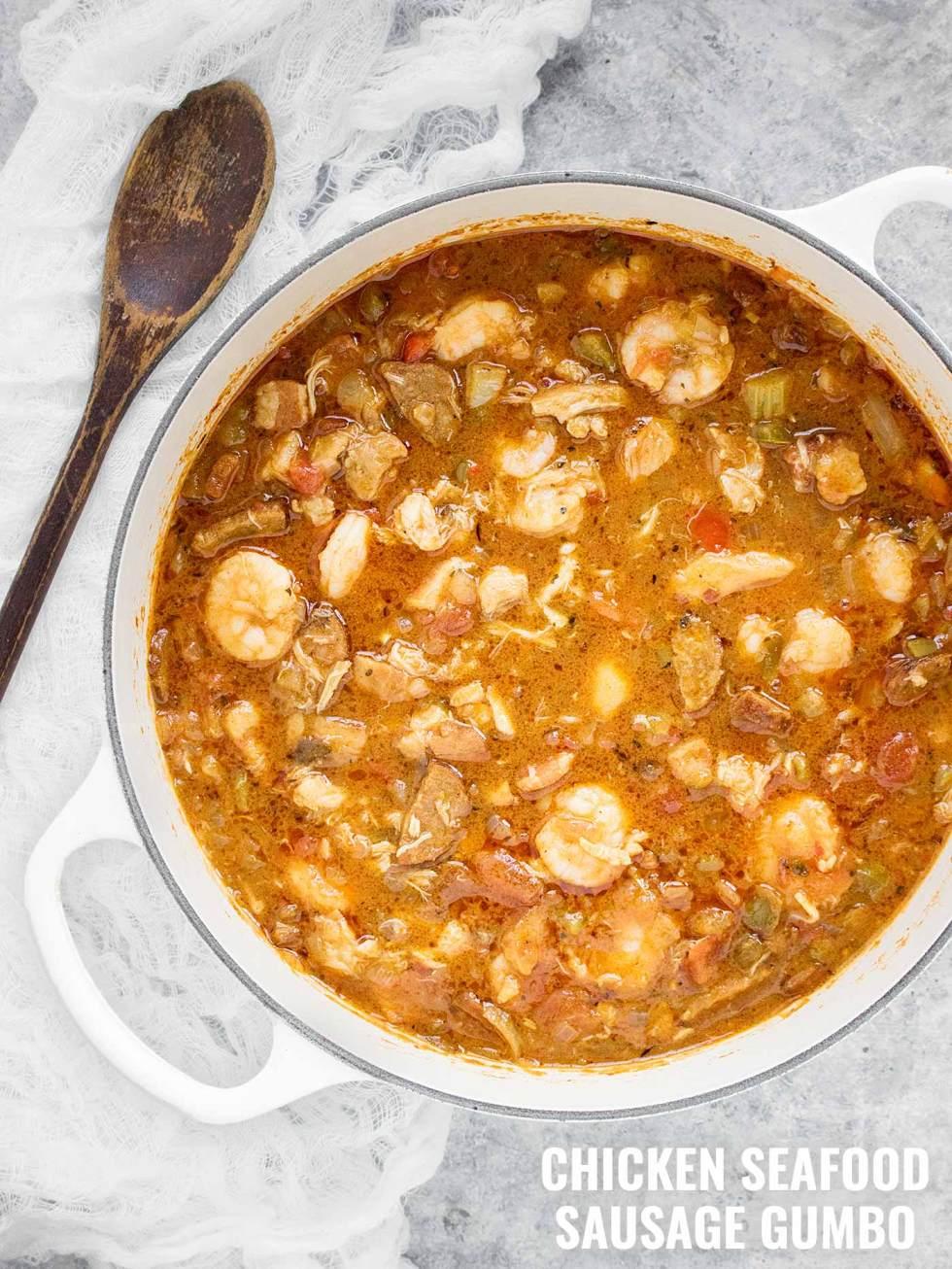 Chicken Seafood Sausage Gumbo - Recipe at SoupAddict.com