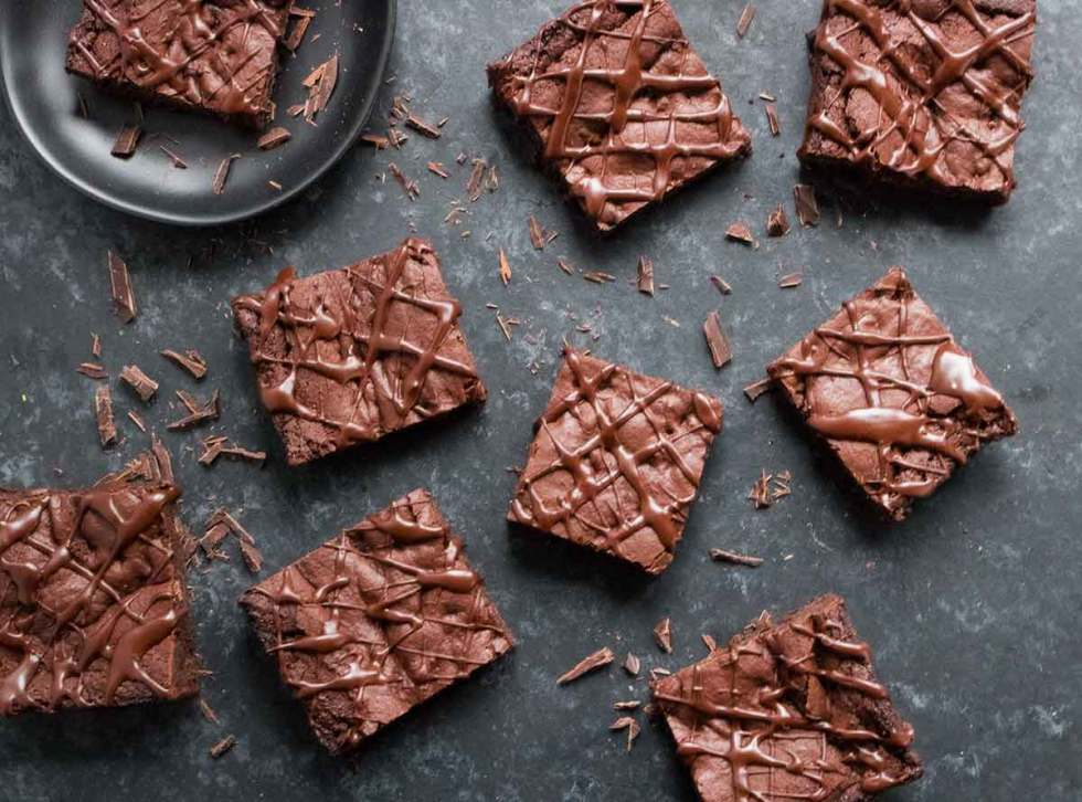 Vegan brownies with glaze.