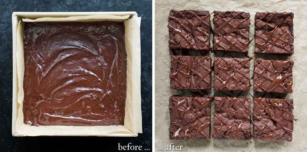 Vegan brownie batter in the pan; and freshly baked and drizzled with glaze.