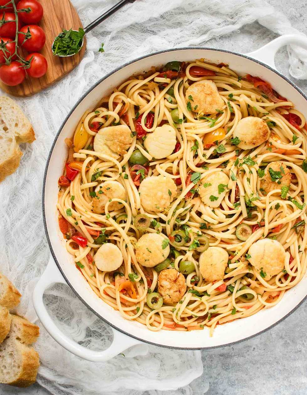 White saute pan filled with Mediterranean Scallop Linguine