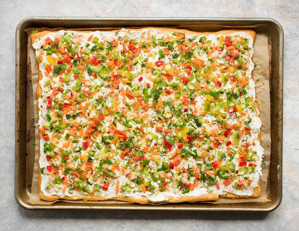 Prepared pan of Ranch Veggie Pizza Appetizer