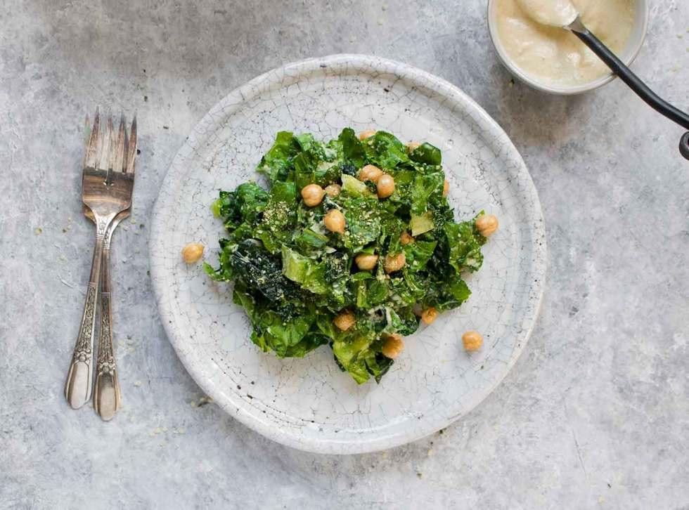 Vegan Caesar Salad on a plate.