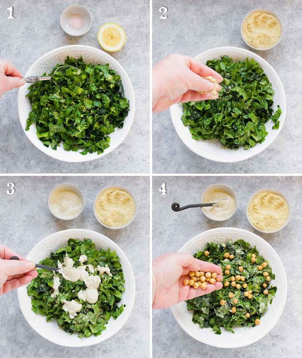 Step by step: How to make a vegan caesar salad.