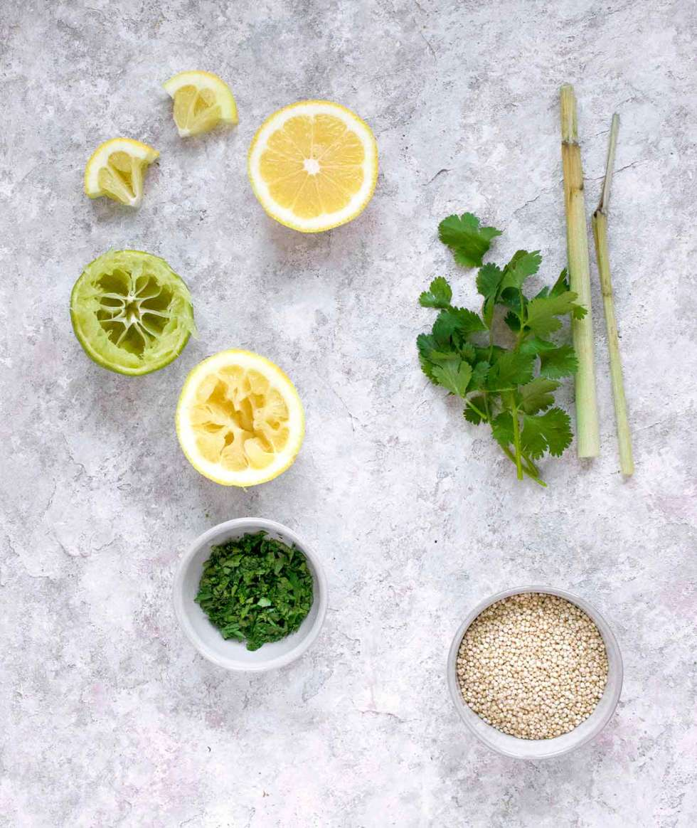 Ingredients for Instant Pot Quinoa with Lemongrass