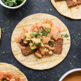 Kimchi Tacos with Gochujang Aioli