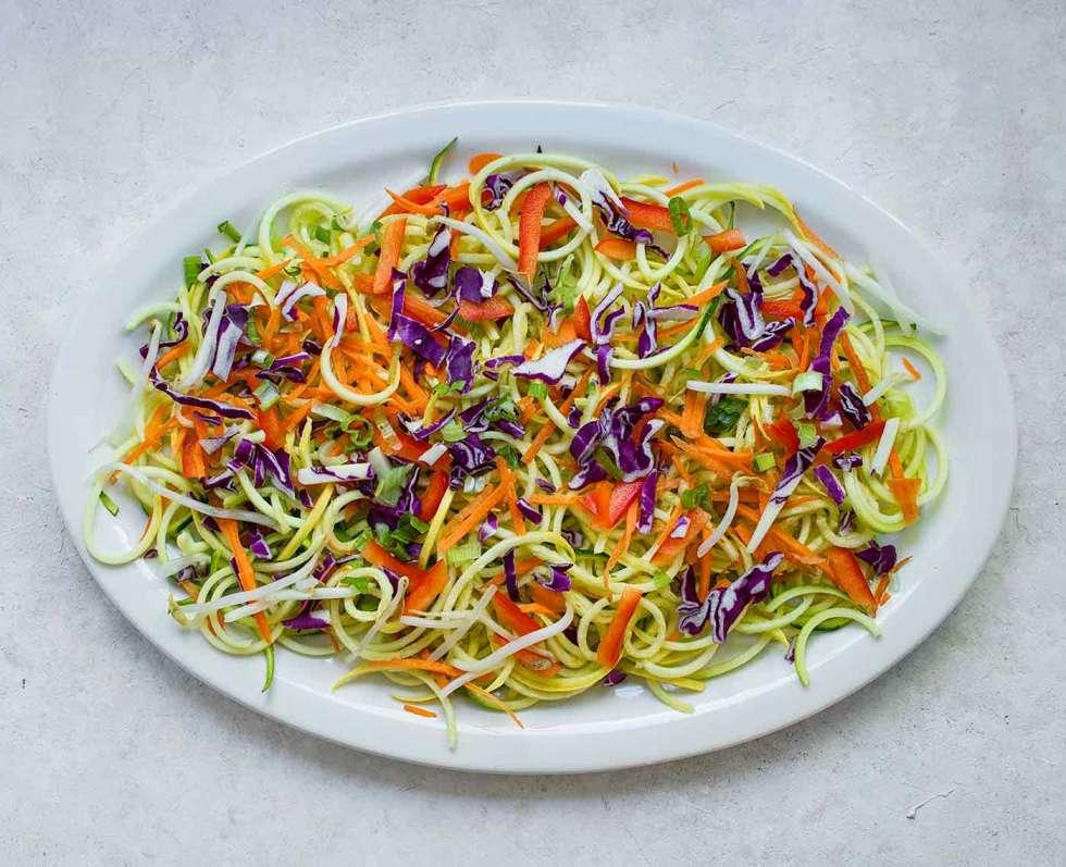 A platter of spiralized veggies for Rainbow Pad Thai