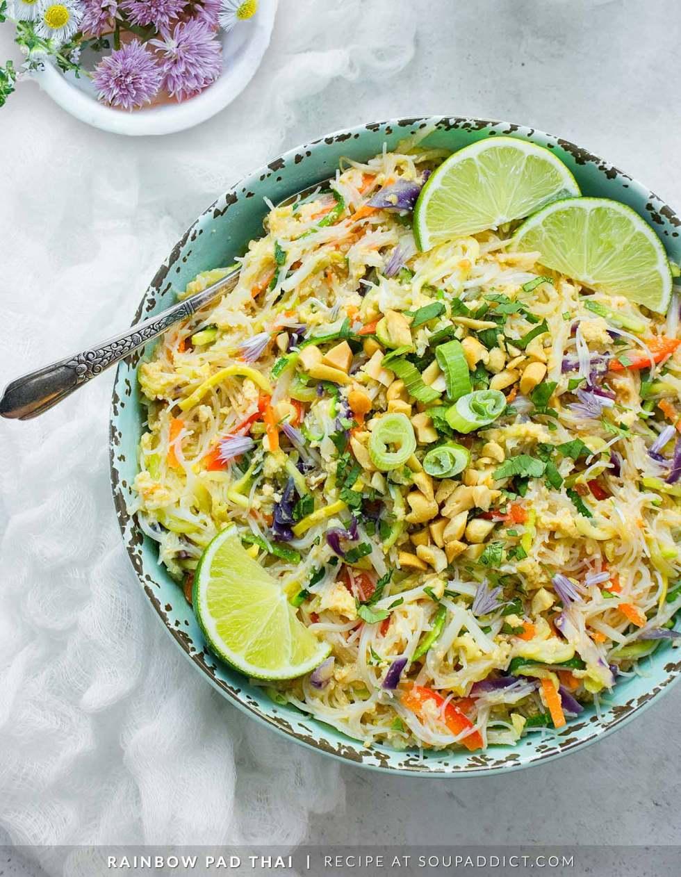 Rainbow Vegetarian Pad Thai - Recipe at SoupAddict.com