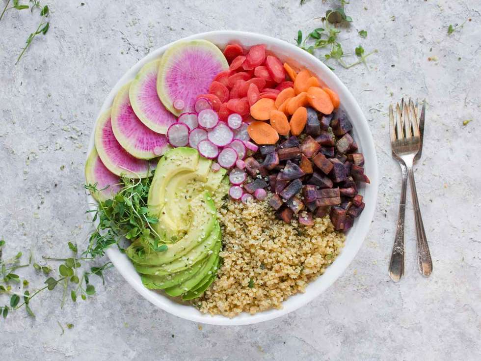 Buddha Bowl loaded with spring veggies and quinoa