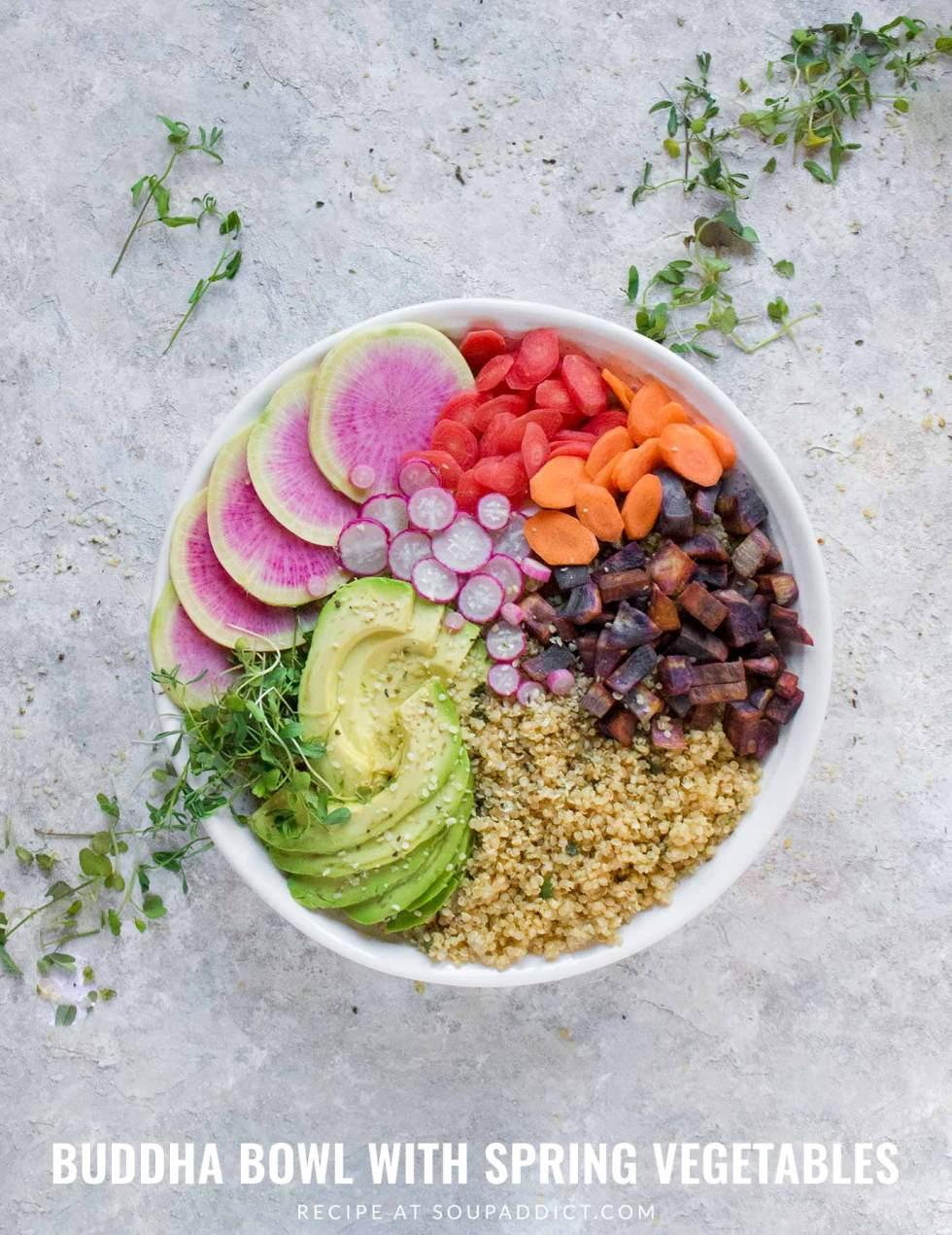 Buddha Bowl with Spring Vegetables - Recipe at SoupAddict.com